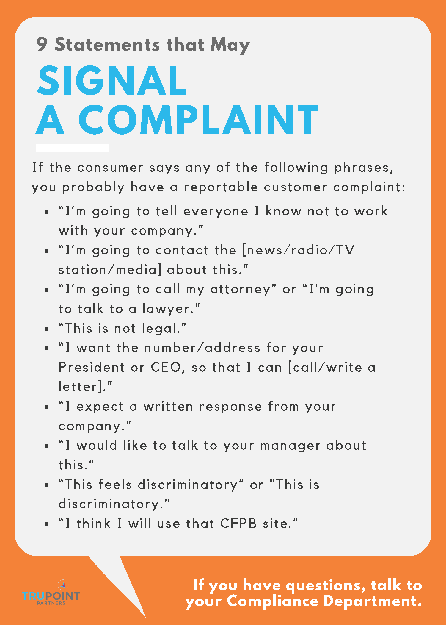 9 Statements that May Signal a Consumer Complaint - TRUPOINT